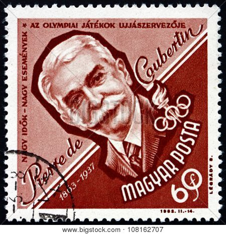 Postage Stamp Hungary 1963 Pierre De Coubertin