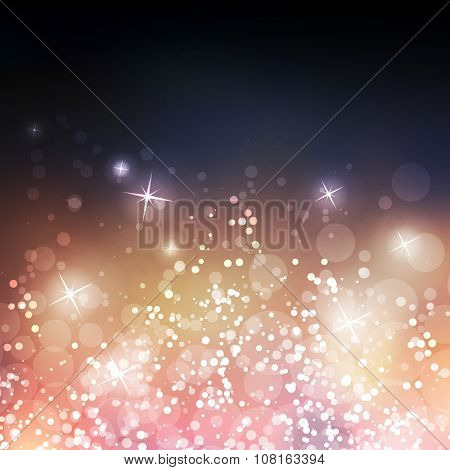 Sparkling Cover Design Template with Abstract, Blurred Background - Colors: Blue, Gold, Purple