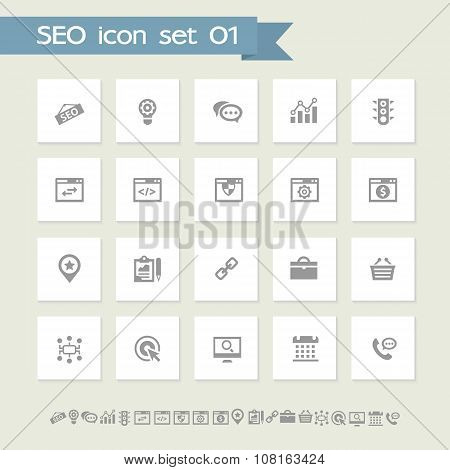 SEO icons, set 1. Simple flat buttons
