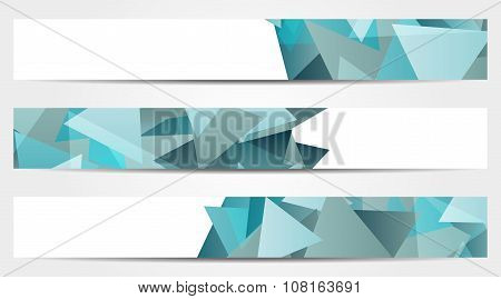 Collection Of 3 Isolated Abstract Colorful Banners With Triangles