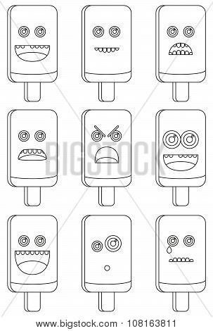 Coloring Book - Collectiion Of 9 Isolated Ice Cream Emoticons