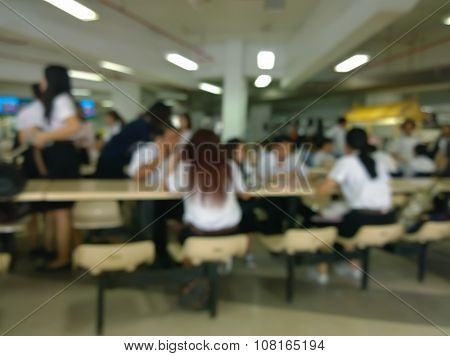 University Canteen, Blur Background With Students