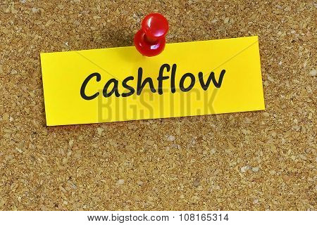 Cashflow  Word On Notes Paper With Cork Background