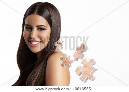 Happy Woman With A Flying Out Puzzle With Skin Problems
