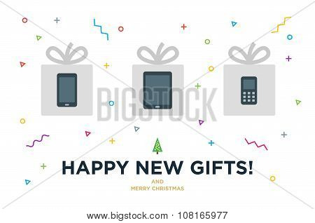 Happy New Gifts Christmas Card with Gadget in white gift box and modern design elements