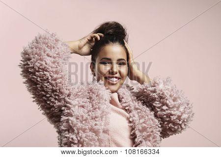 Woman Wwearing Pink Faux Fur Jacket