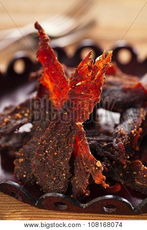jerky beef - homemade dry cured spiced meat