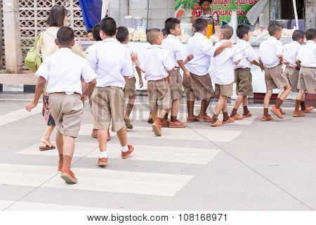 Student Orderly Walk On Crosswalk