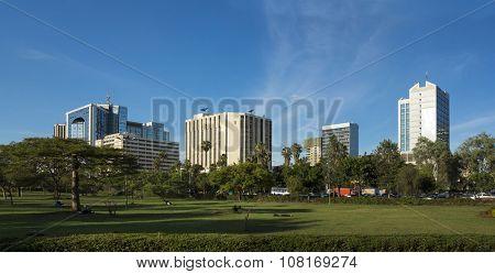 panorama of downtown area of Nairobi, Kenya