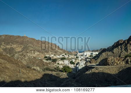 Countryside of Oman. An aerial view of an Omani city in the mountain.