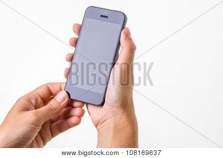 Female hand holding a smart phone, isolated on white