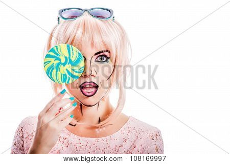 Girl With Makeup In The Style Of Pop Art And Lollipop.