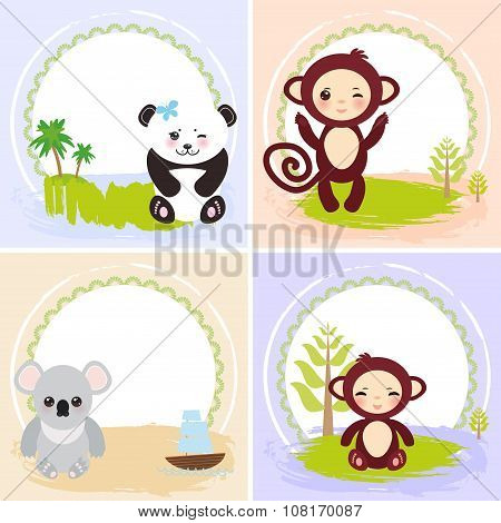 monkey, panda, koala bears, set of cards design  with funny animals, template banner for your text w