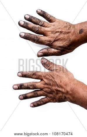 Dirty Hand On White Background