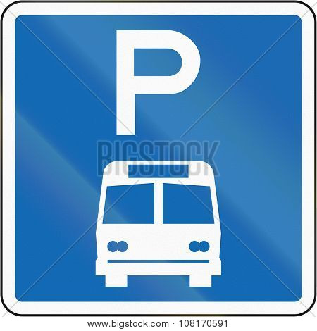 New Zealand Road Sign - Parking Zone For Buses With No Time Limit