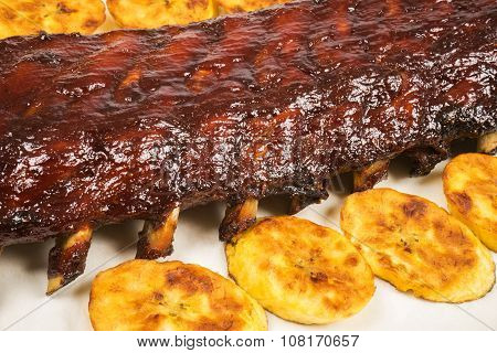 Barbecued Pork Baby Back Rib and Fried Plantains