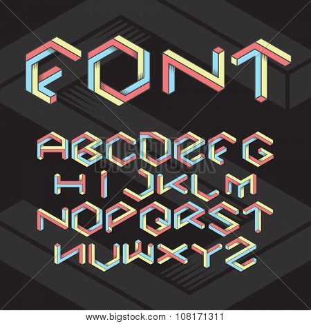Hexagon isometric retro font set on black background