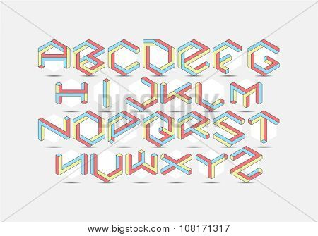 Hexagon isometric Font set