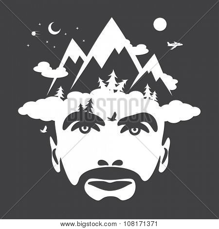 Beard men portrait with mountain cloudly hat. vector illustrations