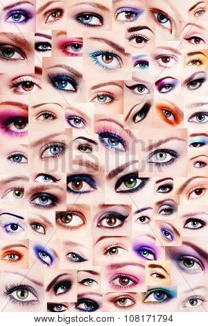 Background of plenty beautiful women's eyes with trendy colorful make-up. Winged eyes, smoky eyes, false eyelashes. Collage.