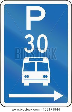 New Zealand Road Sign - Parking Zone For Buses With Time Limit, On The Right Of This Sign