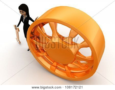 3D Woman Automobile Service Concept