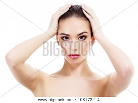 Pretty woman on white background, isolated
