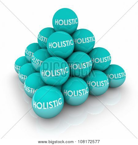 Holistic words on balls in a pyramid to illustrate total, whole complete balance in life or health well-being