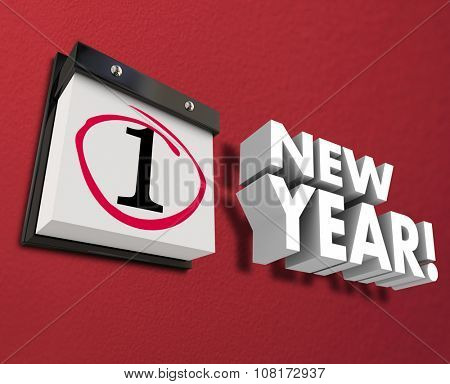 New Year 3d words wall calendar celebrating January 1 start of brand new season and 12 months