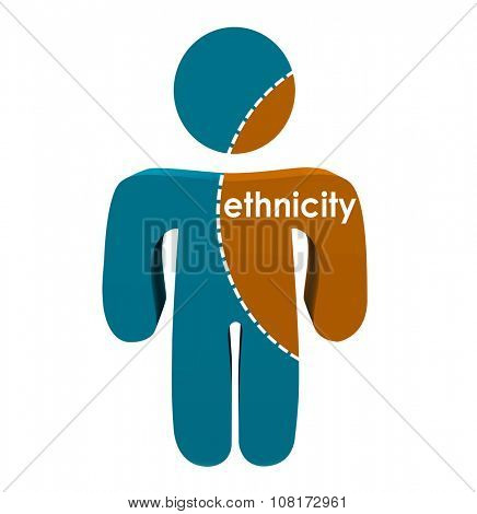 Ethnicity word on a person divided along dotted line to represent mixed origin or national ancestry of race or culture