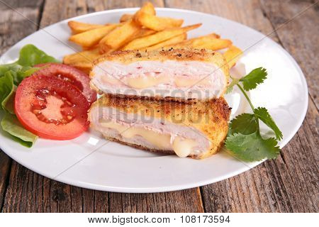 cordon bleu with french fries