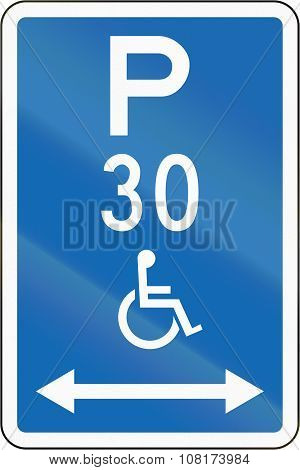 New Zealand Road Sign - Parking Zone Reserved For Disabled Persons With Time Limit, On Both Sides Of