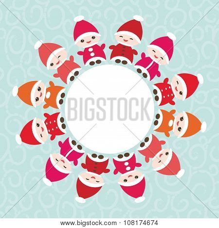 Happy New Year card for your text round frame. Funny gnomes in red hats on blue background. Vector