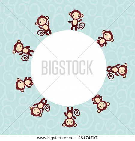 Set of funny brown monkey boys and girls on blue background. card for your text round frame. Vector