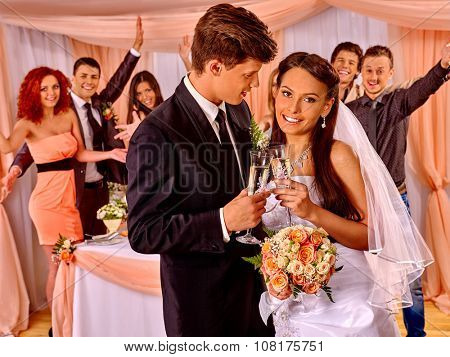Happy wedding couple and large group people guests drinking champagne.