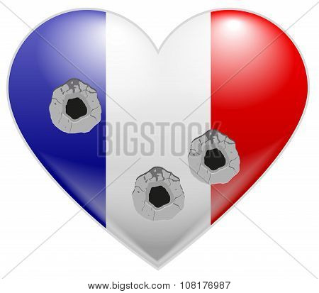 Bullet holes in heart of French flag