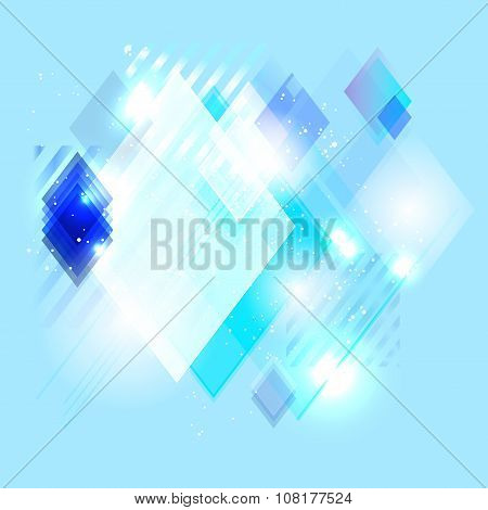 Blue Abstract Shiny Background From Lines And Rhombs
