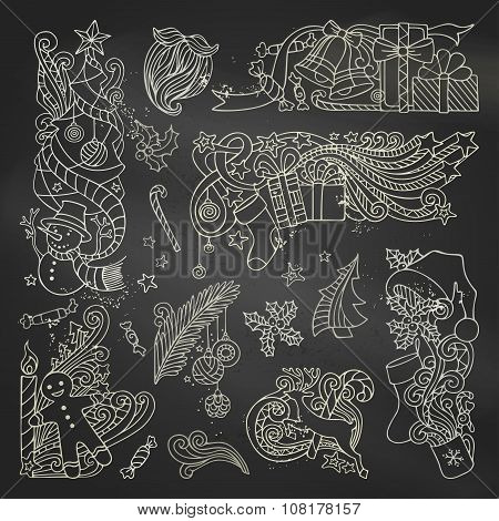 Vector Set Of Chalk Christmas Ornaments On Blackboard Background.