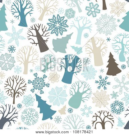 Seamless Winter Forest Pattern.