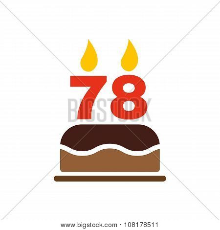 The birthday cake with candles in the form of number 78 icon. Birthday symbol. Flat
