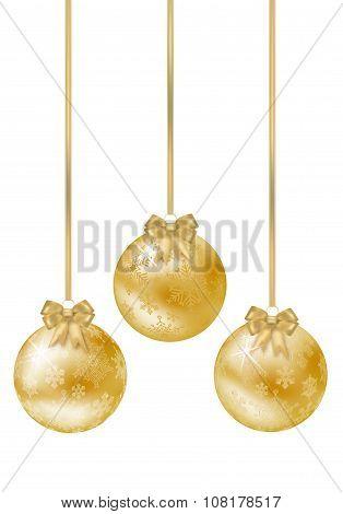 Set Of Shiny Golden Christmas Balls On White Background