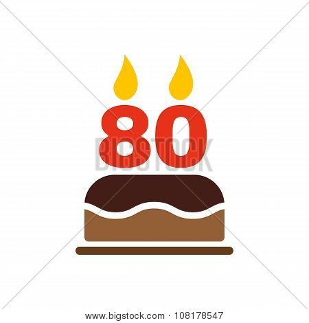 The birthday cake with candles in the form of number 80 icon. Birthday symbol. Flat