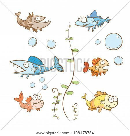 Cartoon Fishes Set.