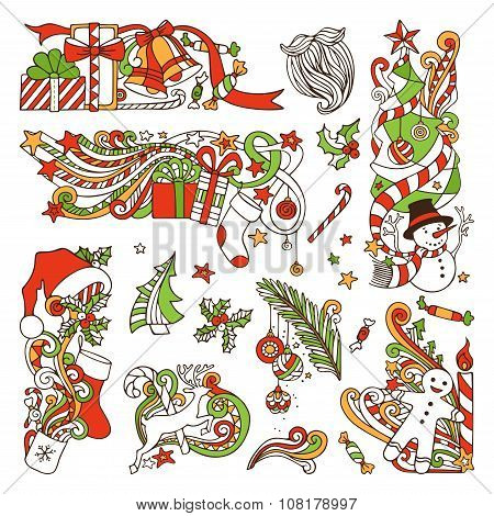 Vector Set Of Christmas Design Elements.