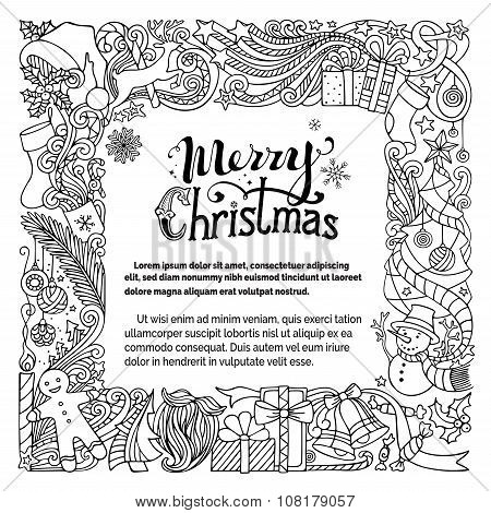 Ornate Merry Christmas Doodles Frame.