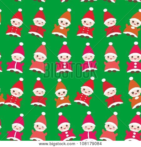 Happy New Year Funny gnomes in red hats seamless pattern on green background. Vector