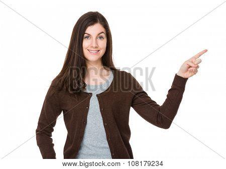 Caucasian woman showing finger up