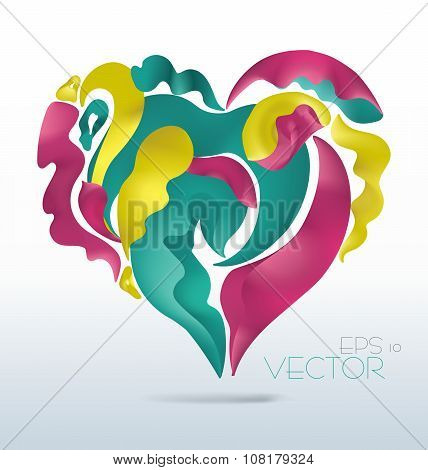 Vector modern abstract waving fluid floral heart