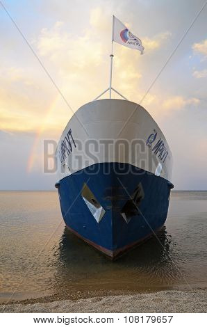 Baikal, Ru-aug,1 2015: The Passenger Touristic Ship On The Background Of Picturesque Evening Sky Wit