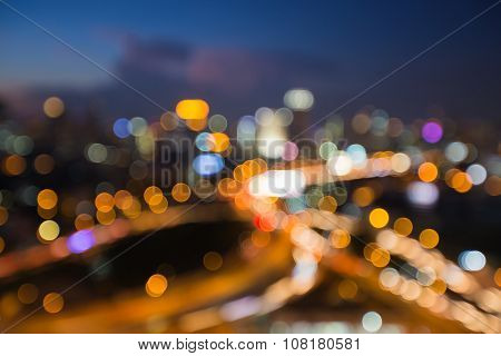 Abstract blurred bokeh city highway interchanged background